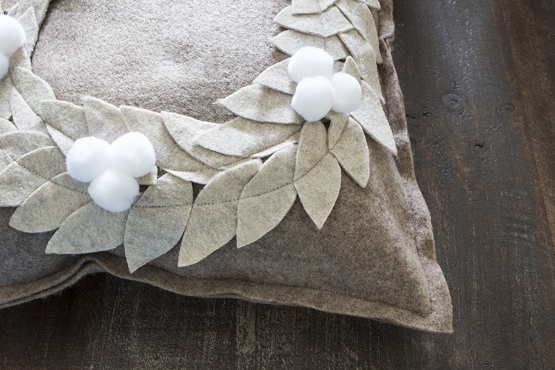 AKA Design Felt Wreath Pillow Hot Glue Pom Poms BLOG PIC