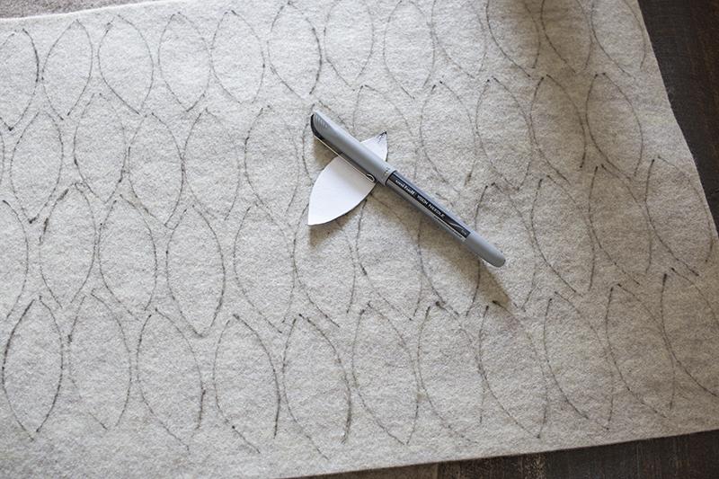 AKA Design Felt Wreath Pillow Trace Leaves BLOG PIC