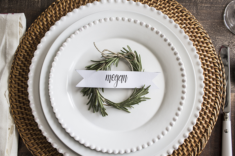 AKA Design Rosemary Wreath Place Cards on Plate 4 BLOG PIC