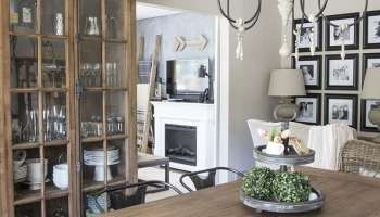 home office in dining room. our casual coastal style summer home tour office in dining room