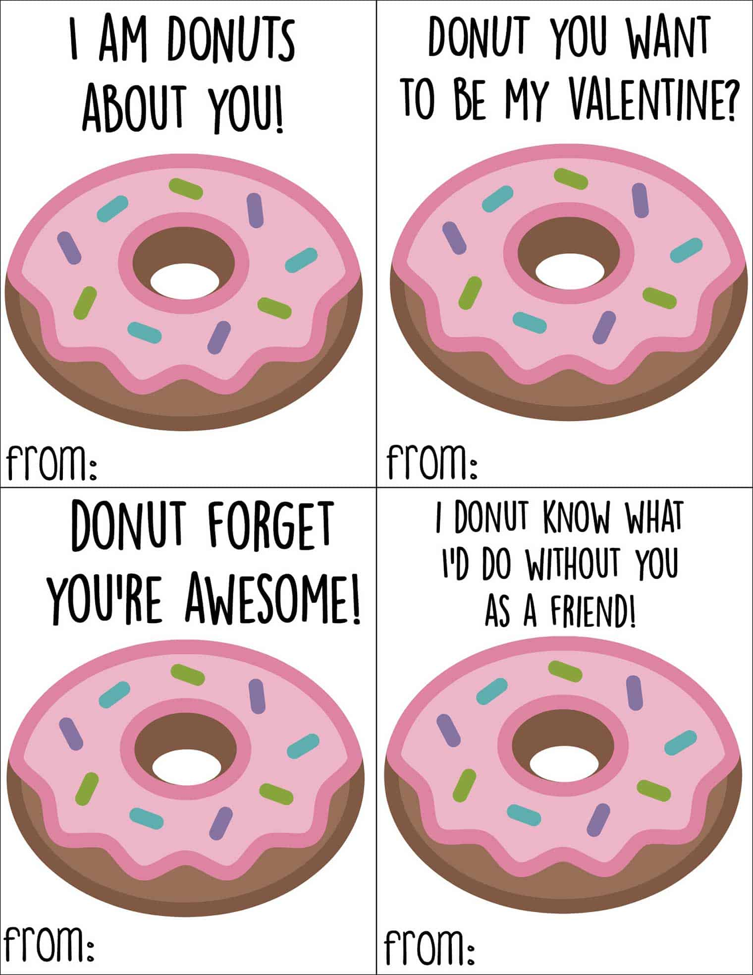 Free Printable Donut Valentine S Day Cards