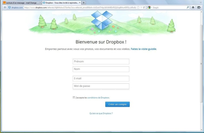 Créer un compte Dropbox