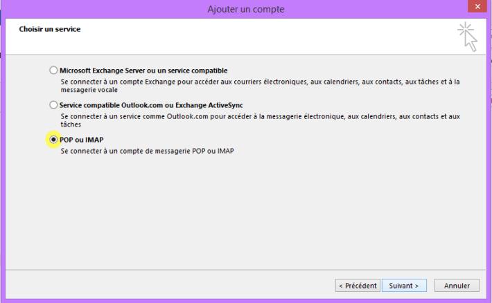 choix du service configuration compte sur Outlook