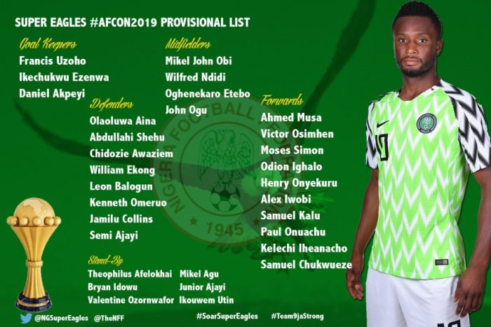 Super Eagles 25 Man Provisional List For AFCON