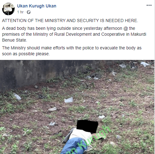Image result for Body of unidentified man dumped within premises of Benue Ministry of Rural Development
