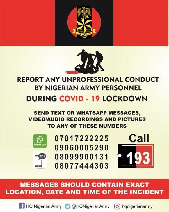 Nigerian Army directs Nigerians on how to report unprofessional conduct of any army personnel during Coronavirus lockdown lindaikejisblog 1