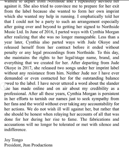 I drafted the contract Cynthia Morgan signed, not Jude Okoye - Cynthia Morgan's former manager, Joy Tongo releases official statement lindaikejisblog 4