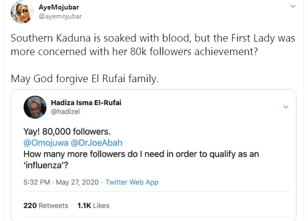 Kaduna First Lady called out for celebrating 80k followers on Twitter as #SouthernKaduna trends lindaikejisblog 13