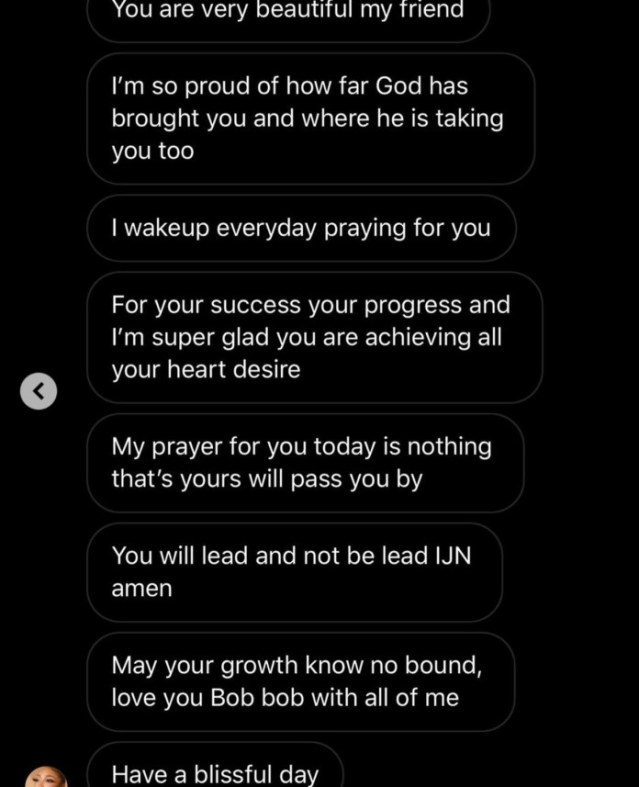 Screenshot of Dikeh's message to her bestie, Bobrisky