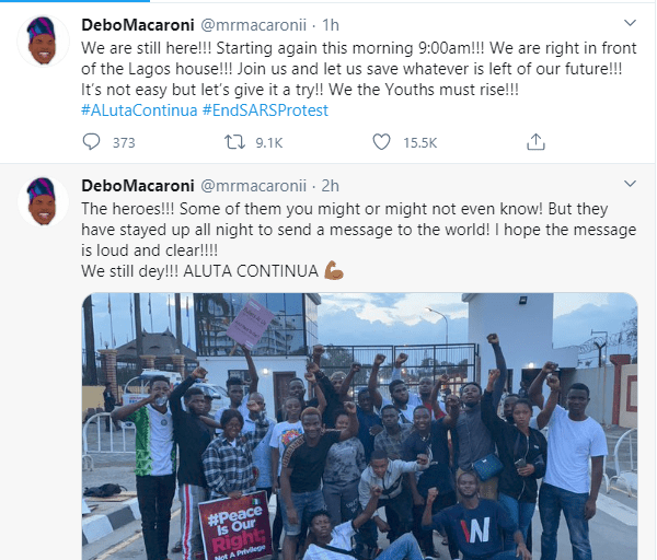 Comedian Mr Macaroni and other #EndSARS protesters passed the night at Lagos government house in spite of security operatives seizing their chairs lindaikejisblog 2
