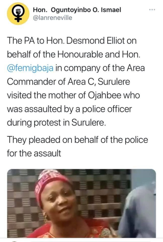 Desmond Elliot's PA and Surulere area commander visits Ojahbee's mother to apologise after she was assaulted by policemen Desmond Elliot's PA and Surulere area commander visits Ojahbee's mother to apologise after she was assaulted by policemen lindaikejisblog 2