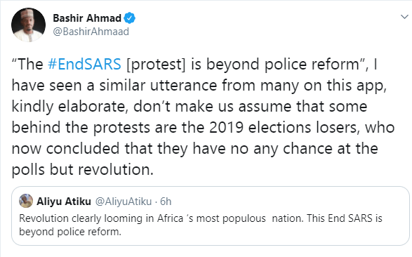 Dont make us assume that some behind the protests are 2019 elections losers - Bashir Ahmad tells those saying '#EndSARS protest is beyond police reform' lindaikejisblog 1