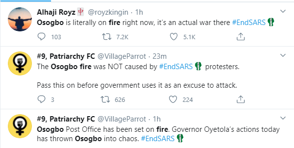 Post Office, Mall and local market allegedly burned down after thugs hijacked the #EndSARS protest after the killing of two protesters lindaikejisblog 1