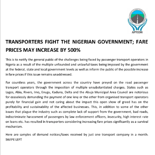 Transporters Fight The Nigerian Government; Fare Prices May Increase by 500% lindaikejisblog1