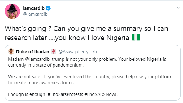 What's going on Cardi B asks after being alerted about the #EndSARS protest in Nigeria lindaikejisblog