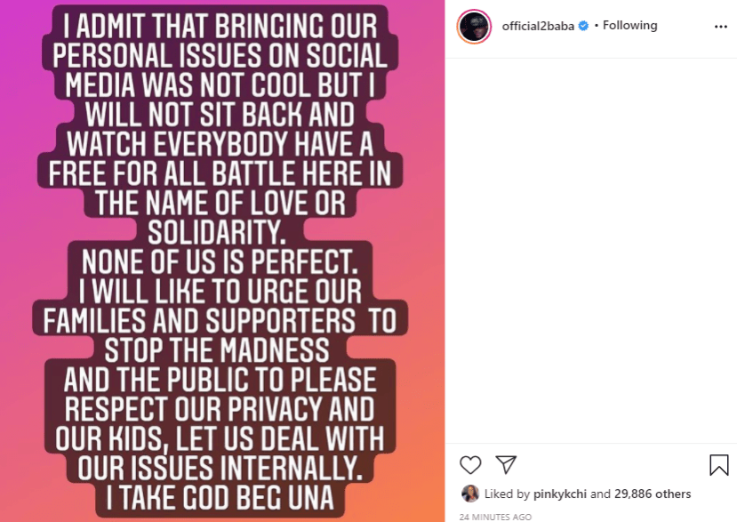 I will not sit back and watch everybody have a free for all battle in the name of love or solidarity - Tuface speaks after wife, Annie Idibia and her family's messy fight with his family