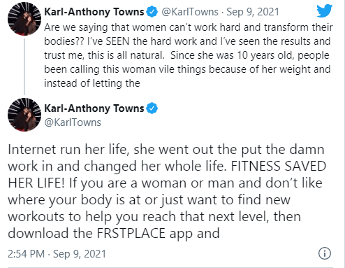 Jordyn Woods' boyfriend, Karl-Anthony Towns insists her recent body transformation is natural 1