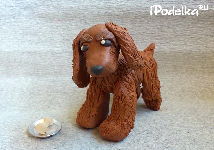 Plasticine spaniel dog.