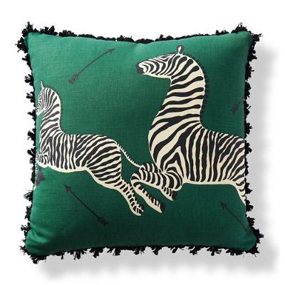 scalamandre zebras print emerald outdoor pillow