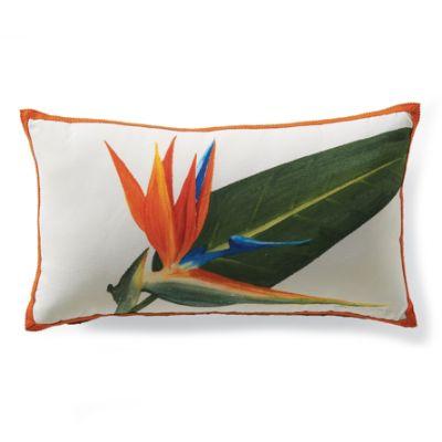 outdoor hand painted bird of paradise lumbar pillow