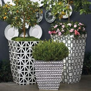 Madison Planters in Black and White   Frontgate Madison 19  Black and White Planter