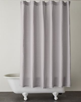eileen fisher solid washed linen shower curtain