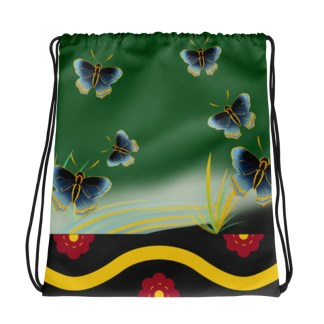 Seven Kimono Drawstring Bag - Green Meadow