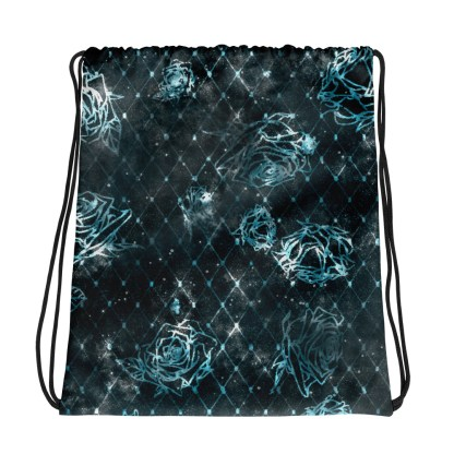 Diamond Rose Drawstring Bag - Turquoise Silver