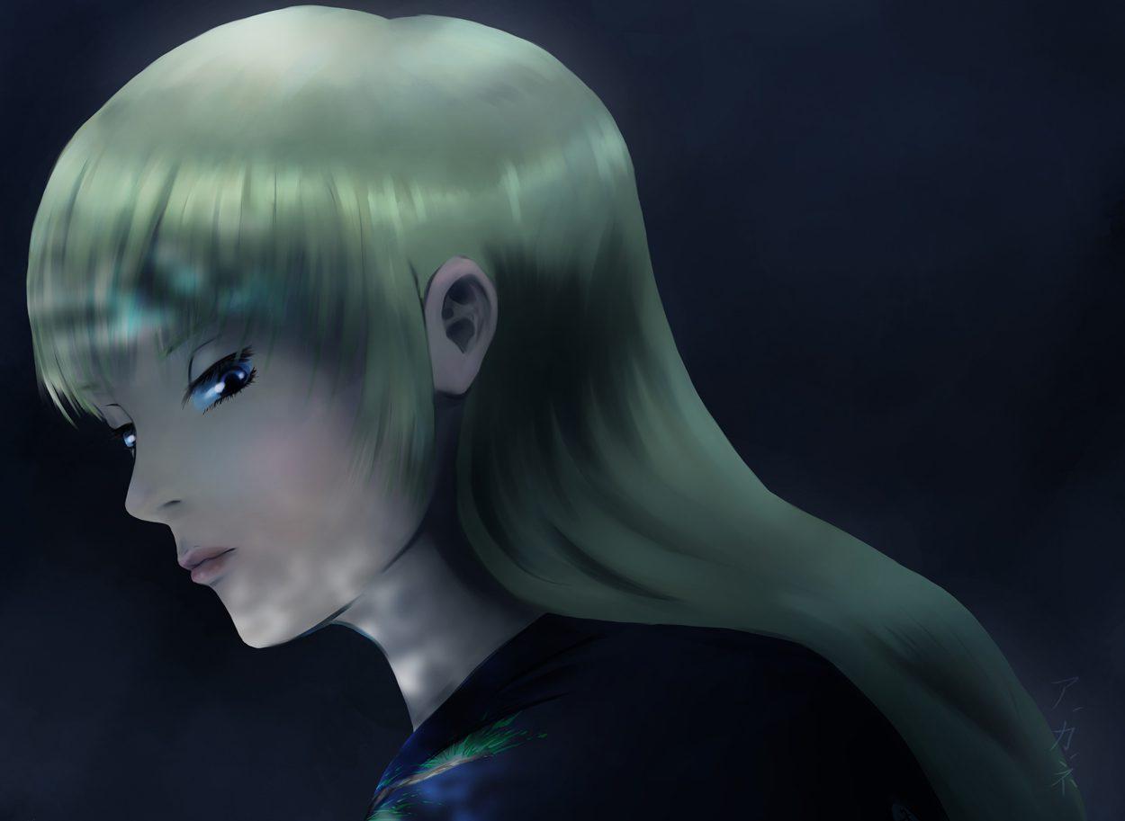 Ou-Mi, digital woman in nighttime painting