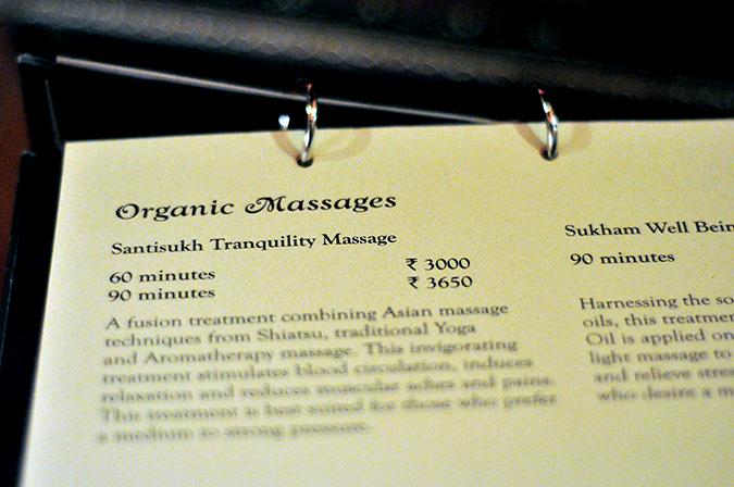 Ishana Spa | www.akanksharedhu.com | Massage Menu Card