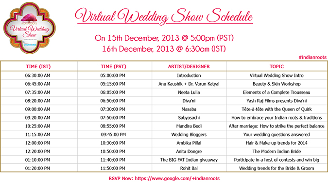 Virtual Wedding Show by #IndianRoots - Schedule