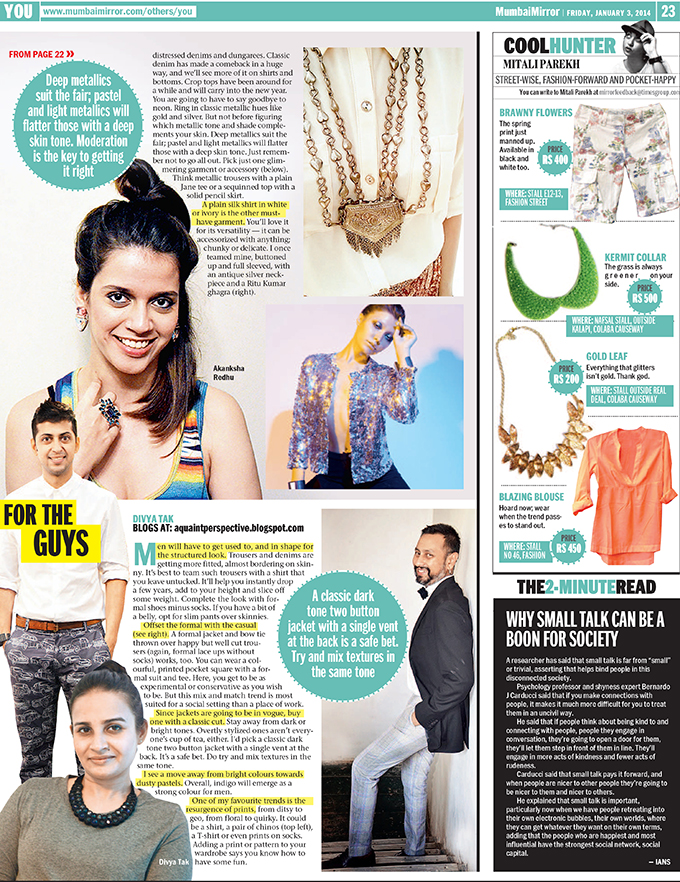 Media Feature | Mumbai Mirror | www.akanksharedhu.com