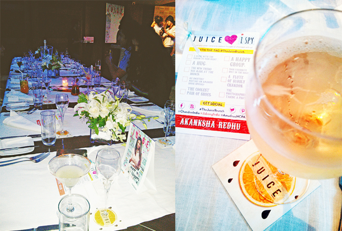 The Juice by Jabong | www.akanksharedhu.com | table and chandon