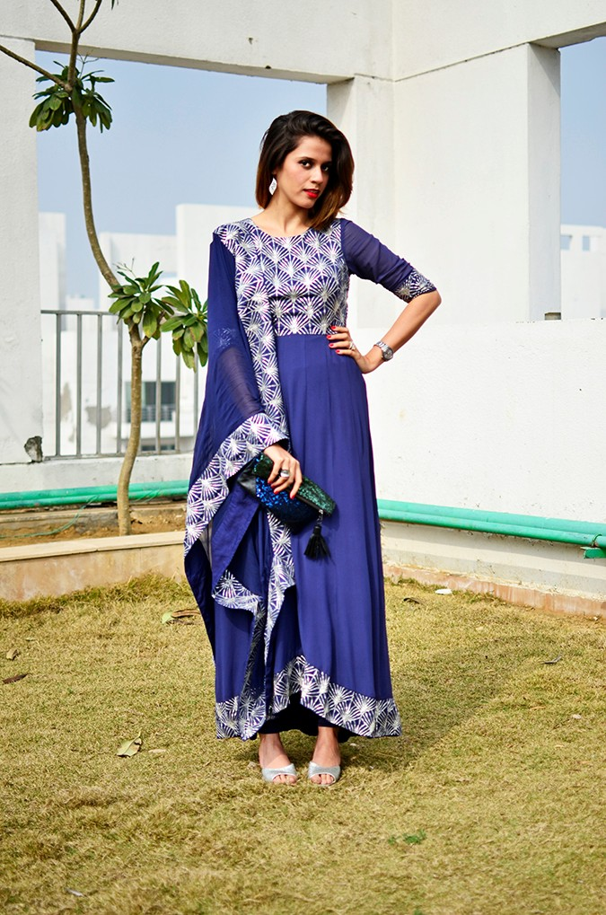 Indianwear | Blue & Silver Anarkali | Akanksha Redhu | full front further