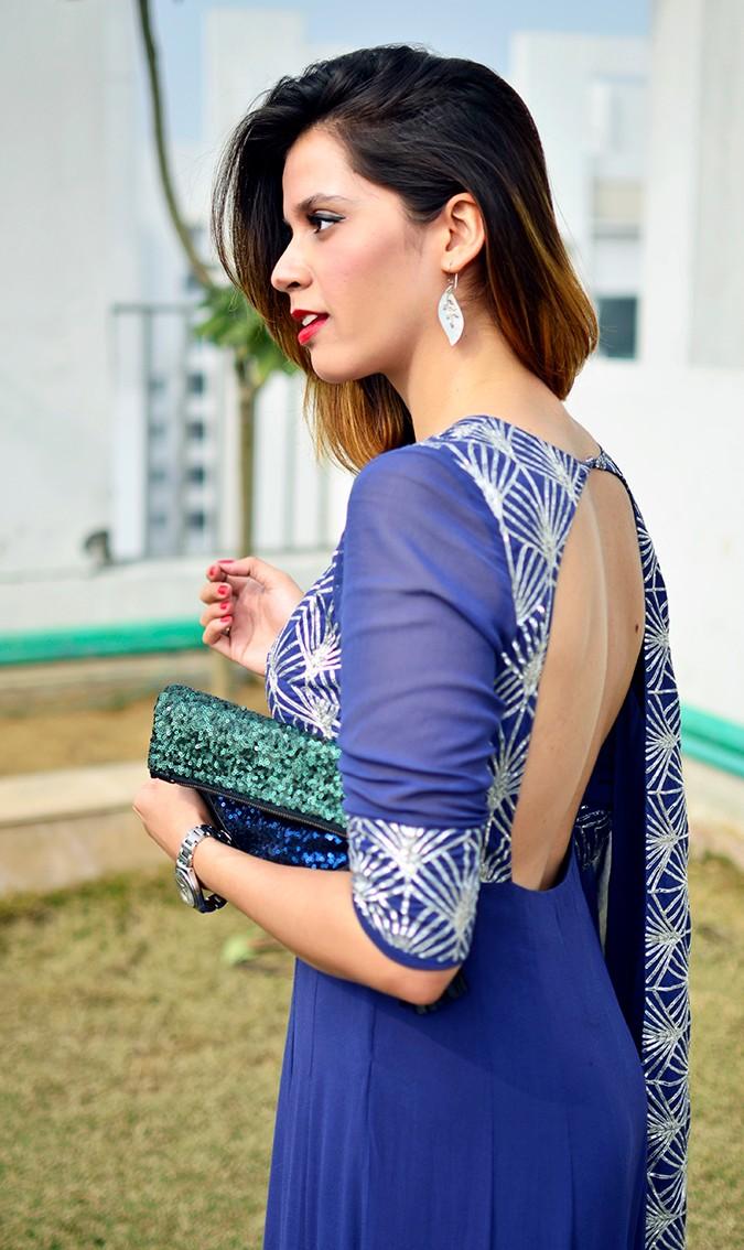 Indianwear | Blue & Silver Anarkali | Akanksha Redhu | half three fourth with back