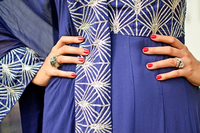 Indianwear | Blue & Silver Anarkali | Akanksha Redhu | nails on waist
