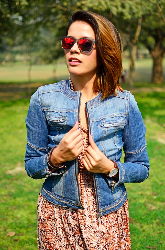 Denim + Animal Print | Akanksha Redhu | half front holding jacket