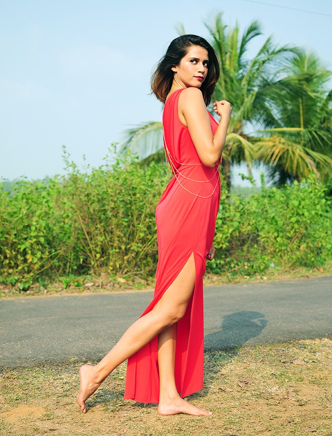 Coral Streets | BCBGMAXAZRIA | Akanksha Redhu | full side leg out back