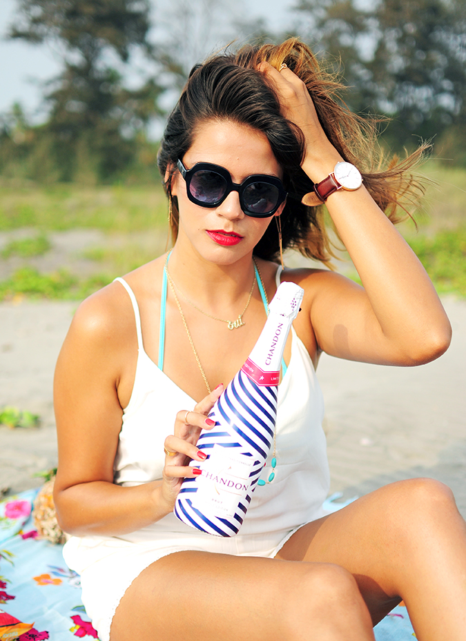 Beach Days | Goa | Akanksha Redhu | sitting with limited edition chandon