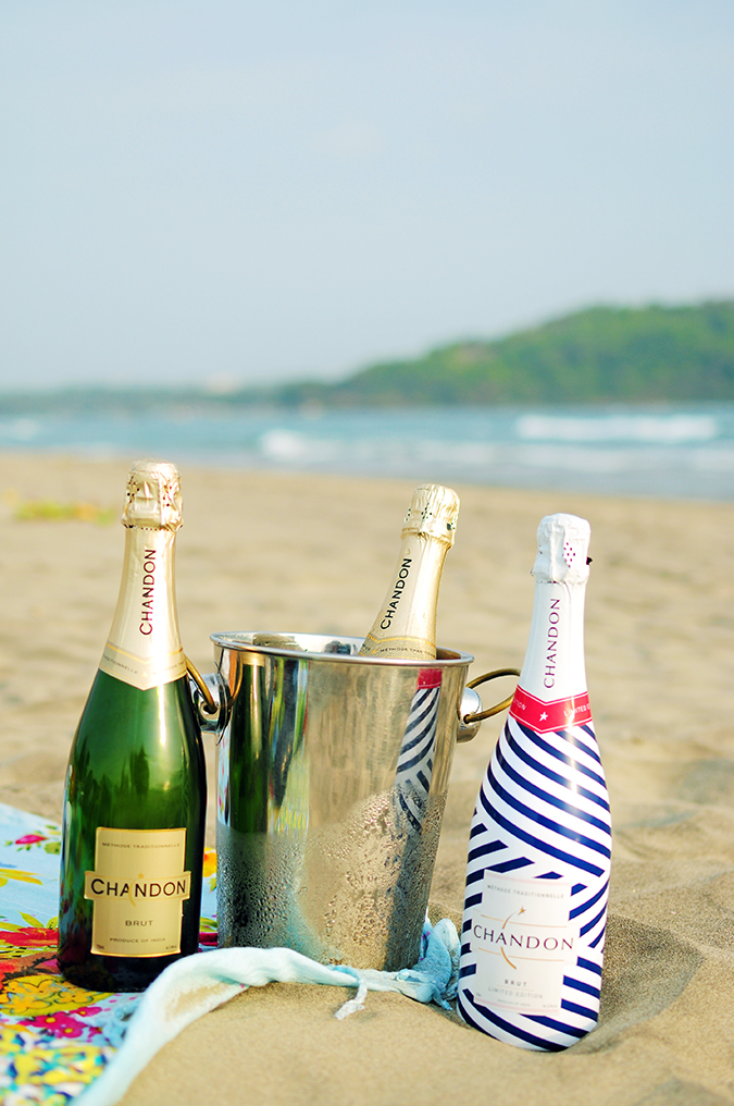 Beach Days | Goa | Akanksha Redhu | Chandon all 3 bottles on sand