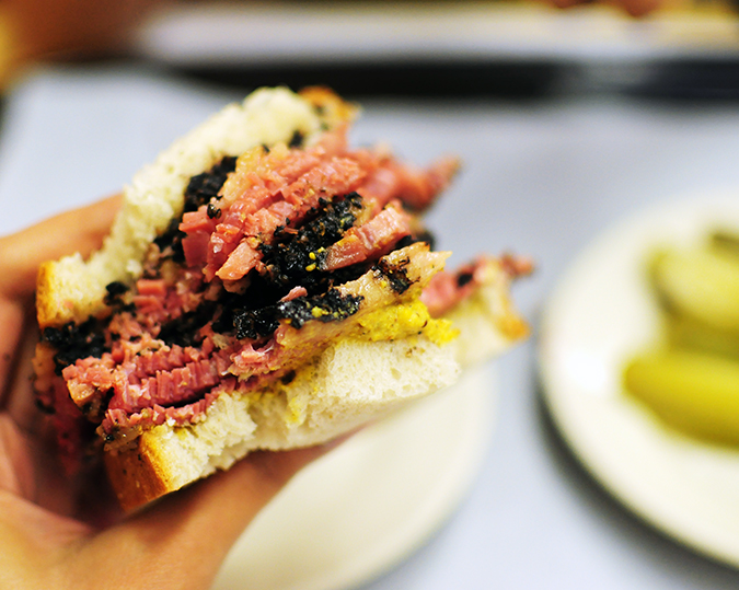 Katz's Delicatessen | #RedhuxNYC | in hand closeup