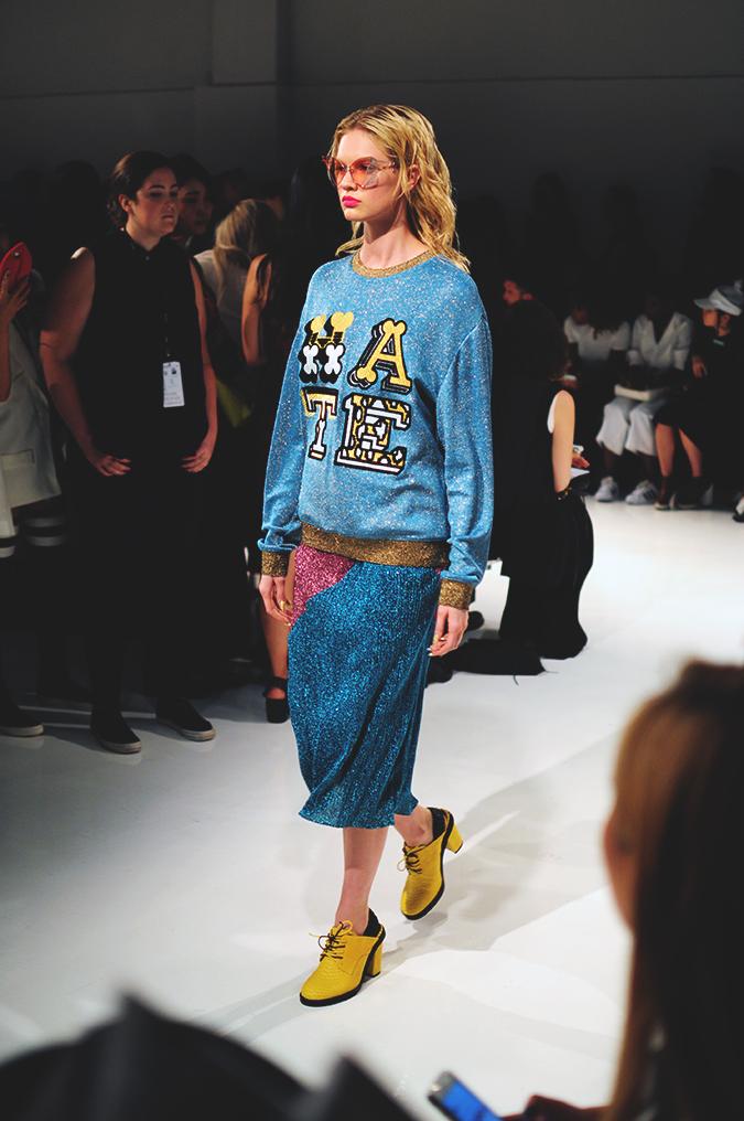 KYE | NYFW | #RedhuxNYC | hate sweatshirt metalskirt