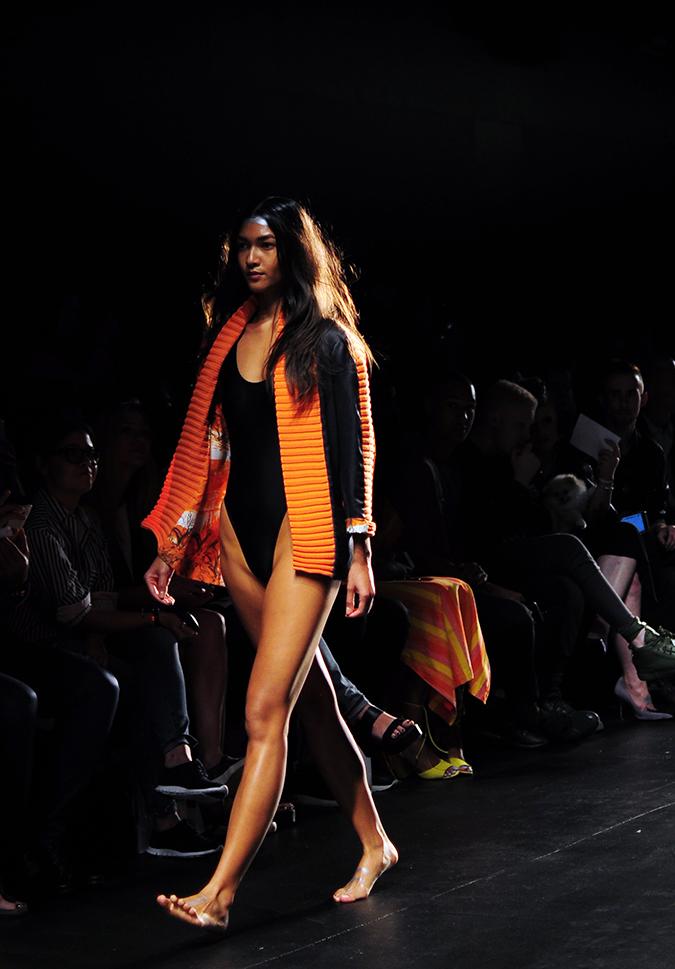 Francesca Liberatore | NYFW | #RedhuxNYC | blk swimsuit orange jacket
