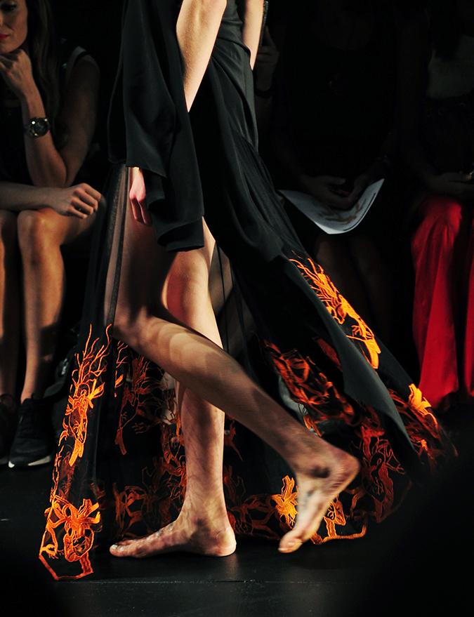 Francesca Liberatore | NYFW | #RedhuxNYC | legs orange and black