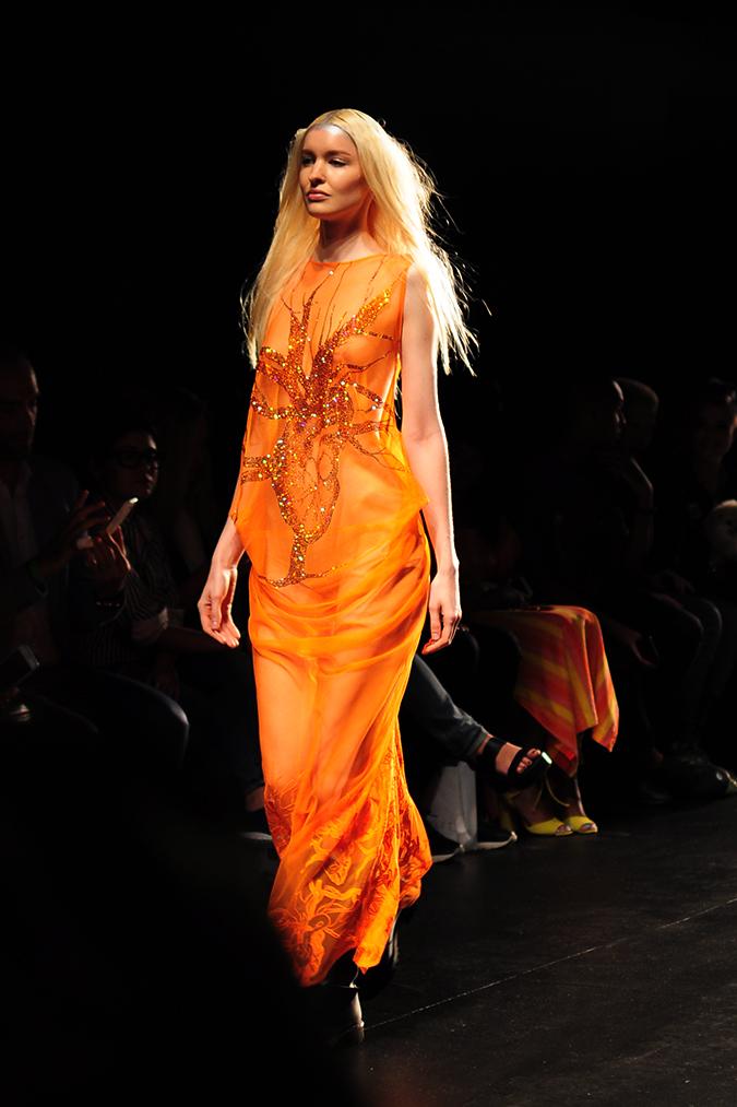 Francesca Liberatore | NYFW | #RedhuxNYC | orange maxi with shiny heart