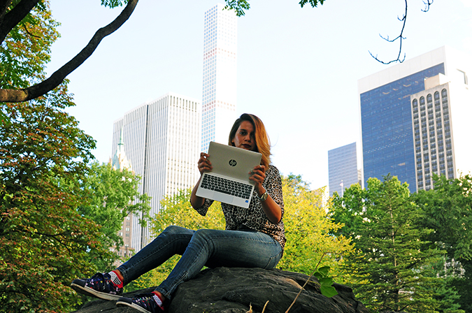 New York City | HP | Akanksha Redhu | HPx2 | sitting on rock holding in air