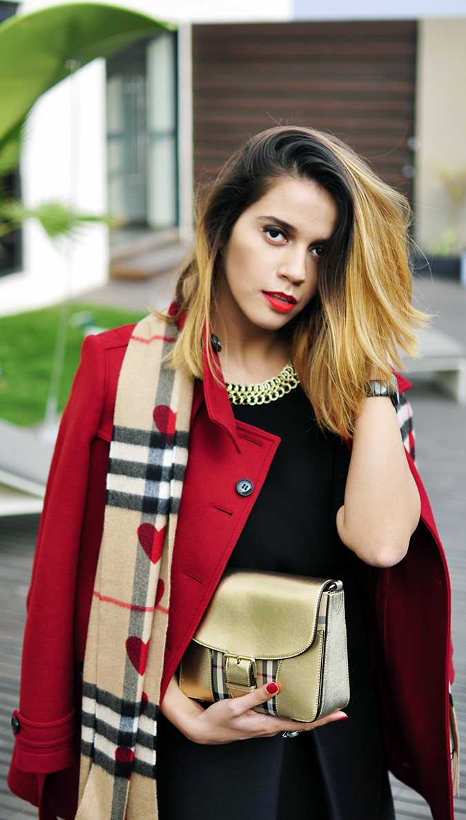 Burberry Festive | Akanksha Redhu | half front coat hand in hair