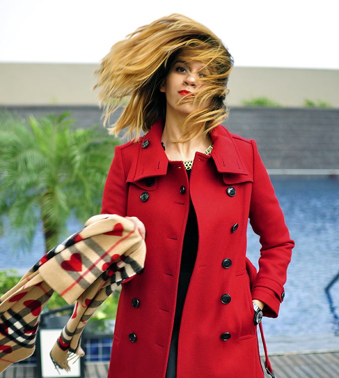 Burberry Festive | Akanksha Redhu | hair flip pool