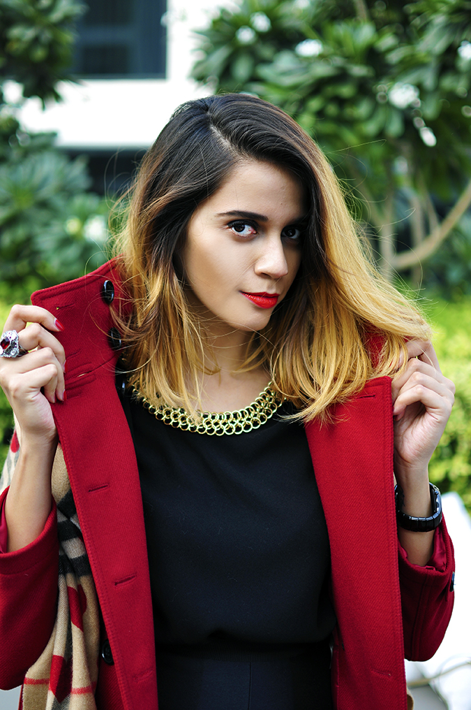 Burberry Festive | Akanksha Redhu | half front both hands on collar