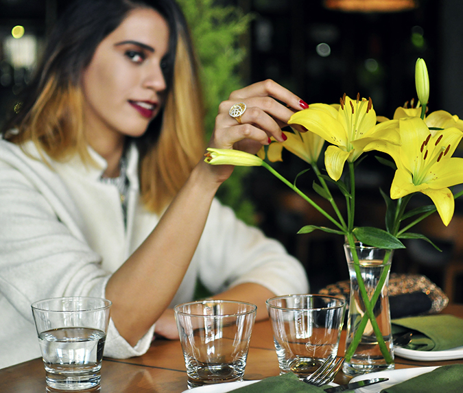 BeeJewelled - CaratLane | Akanksha Redhu | sitting with flowers